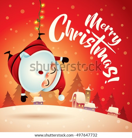 merry christmas santa claus in christmas snow scene christmas greeting card - Christmas Santa Pictures