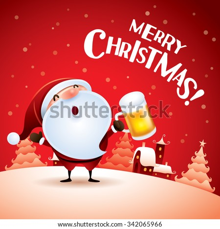Merry Christmas! Santa Claus with beer in Christmas snow scene. - stock vector