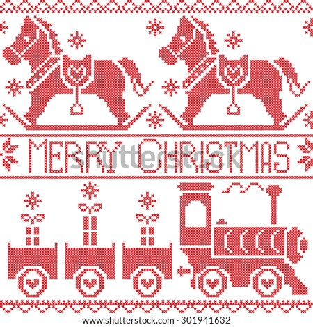 Merry Christmas Scandinavian seamless Nordic pattern with gravy train, Xmas gifts, hearts, rocking  pony horse, stars, snowflakes in red cross stitch   - stock vector