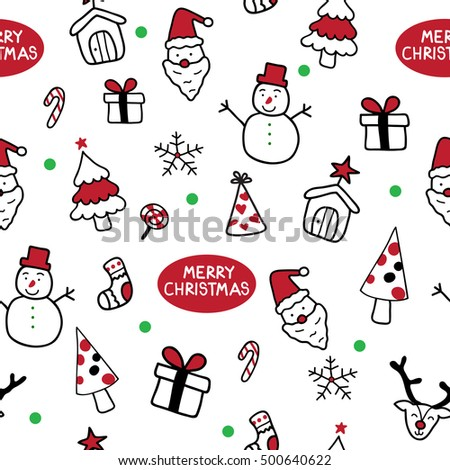 Merry Christmas seamless pattern, hand drawn doodle holiday background