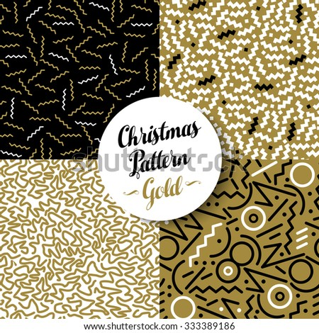 Merry Christmas seamless pattern set of fancy golden geometry designs in 80s retro style. Ideal for Xmas greeting card, web, or holiday party invitation. EPS10 vector. - stock vector