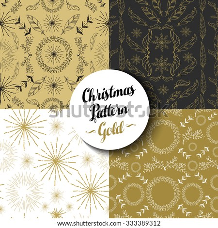 Merry Christmas seamless pattern set of fancy golden vintage designs: nature, firework explosion and boho elements. Ideal for Xmas greeting card, web, or holiday party invitation. EPS10 vector. - stock vector