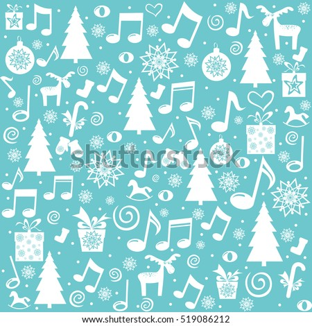 Merry Christmas. Seamless pattern wallpaper of Christmas tree, musical notes, deer, snowflake, stars and gift box. Vector Illustration
