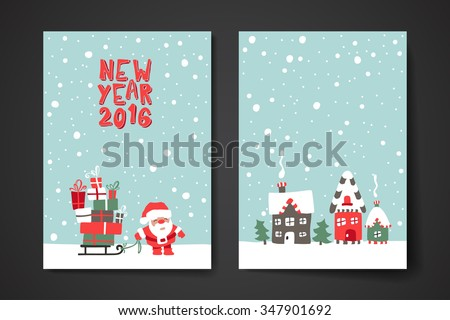 Merry Christmas Set Of Card Templates. Collection for Greeting, Congratulations, Invitations. - stock vector