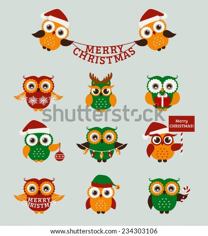 Merry Christmas! Set of cute owls for holiday design. Vector icons isolated on blue background. - stock vector