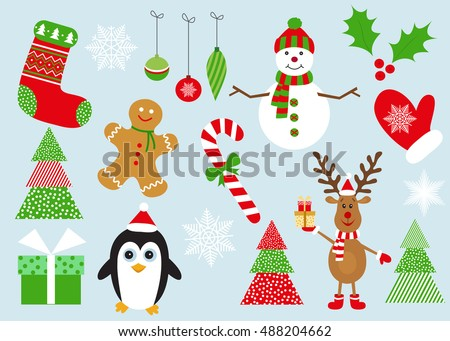 Merry  Christmas set of elements and symbols.  Collection of New Year decorations. Flat  design  vector  illustration.