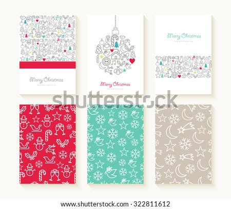 Merry christmas set of line icon seamless patterns with outline xmas ornaments and font templates. Ideal for holiday greeting cards, print, or wrapping paper. EPS10 vector file. - stock vector