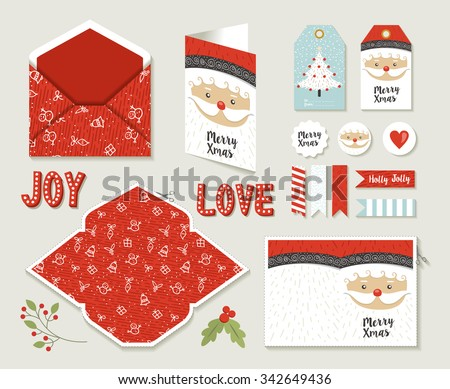 Merry christmas set of printable DIY envelope, tags and holiday greeting card for xmas season in cute retro style. EPS10 vector. - stock vector
