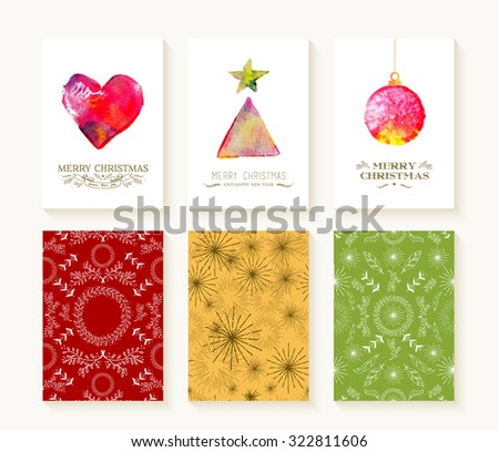 Merry christmas set of seamless patterns in monogram line art style and watercolor xmas ornaments. Ideal for holiday greeting cards, print, or wrapping paper. EPS10 vector file. - stock vector