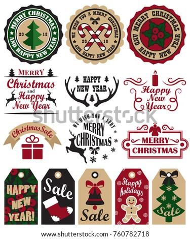 Merry Christmas Set Symbols Tags Icons Stock Vector 760782718