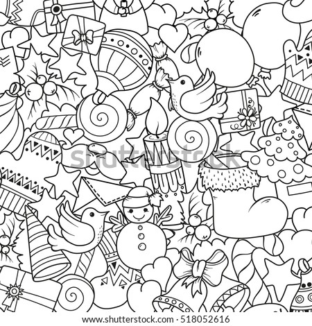 Merry christmas set of xmas monochrome pattern and text templates. Ideal for holiday greeting cards, print, coloring book page or wrapping paper.