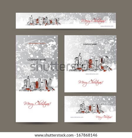 Merry christmas, set postcards with cityscape background - stock vector
