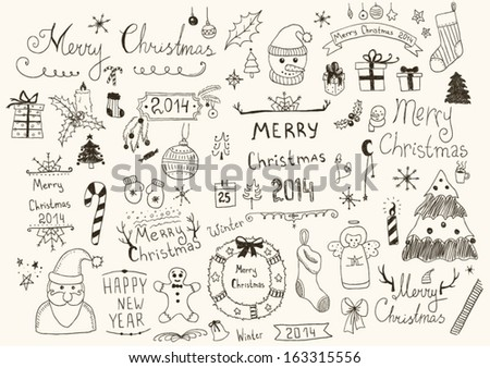Merry Christmas Signs Collection - stock vector