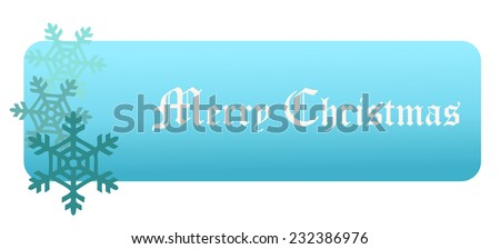 Merry Christmas simple Light Blue Banner, with Three Snow Flakes beside the Text, Vector Illustration isolated on White Background.  - stock vector