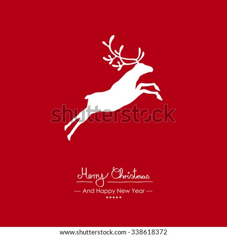 Merry Christmas - Simple Red Vector Greeting and Christmas Card Template with Shapes - Handwritten Greeting Text - Seasonal New Years Eve Background - XMas, X-Mas. Jumping Strong Reindeer Wallpaper - stock vector