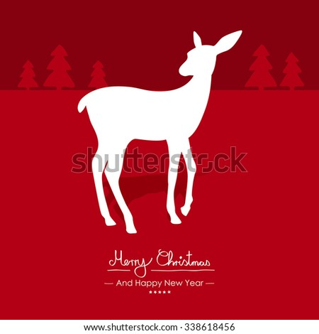 Merry Christmas - Simple Red Vector Greeting and Christmas Card Template with Shapes - Handwritten Greeting Text - Seasonal New Years Eve Background - XMas, X-Mas. Cute Fawn with Shadow Silhouette - stock vector
