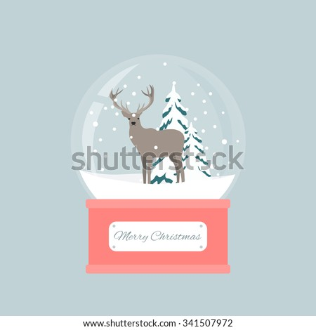 Merry christmas snow globe with a deer under the snow. New Year gift. - stock vector