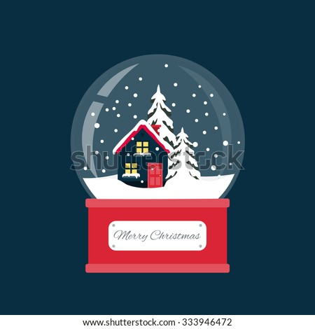 Merry christmas snow globe with a small house and fir-tree under the snow. New Year gift. - stock vector