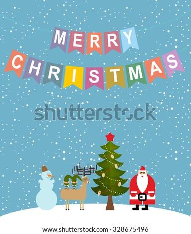 Merry Christmas. Snowfall. Christmas characters: Santa Claus and Christmas tree. Reindeer and Elf. Sweetheart Greeting Card - stock vector