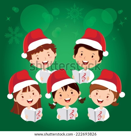 Merry Christmas songs. Children Christmas Choir. - stock vector