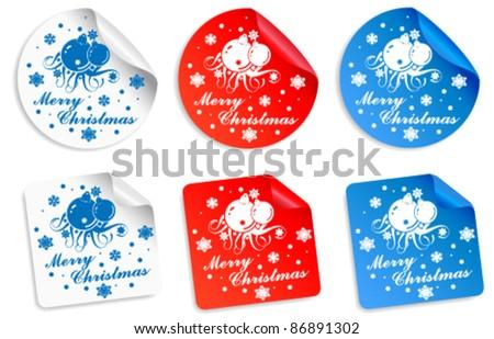 Merry Christmas sticker vector collection - stock vector