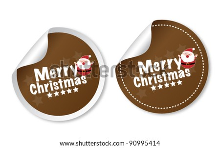 Merry Christmas stickers - stock vector