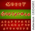 Merry Christmas Stickers font, Vector illustration.  - stock vector