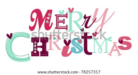 Merry christmas stylized typography - stock vector