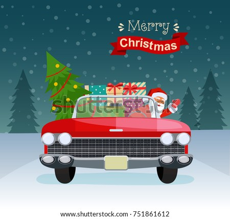 Merry Christmas Stylized Typography Vintage Red Cabriolet With Santa Claus Tree And Gift