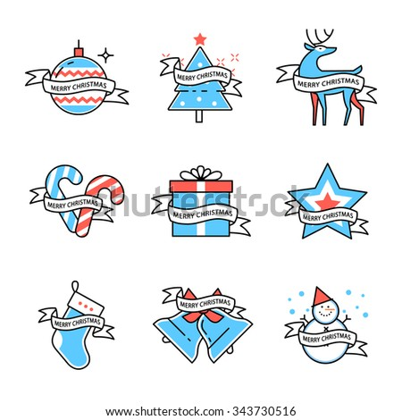 Merry Christmas symbols collection decorated with ribbon with text. Flat style thin line art color icons set isolated on white background. - stock vector