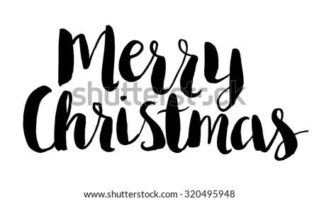 Merry christmas text brush script vector stock photo photo vector