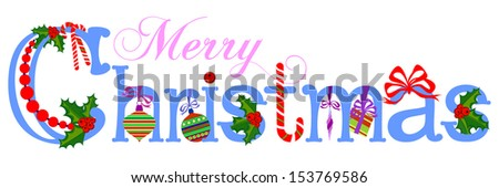 Merry Christmas Title, Vector illustration - stock vector