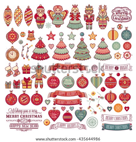 Merry Christmas toys. Winter and New Year design elements. Greeting card. Balls, Santa Claus, socks, gift box. Xmas tree, Reindeer. Holiday text lettering. Festive colorful toys set. Season decoration - stock vector