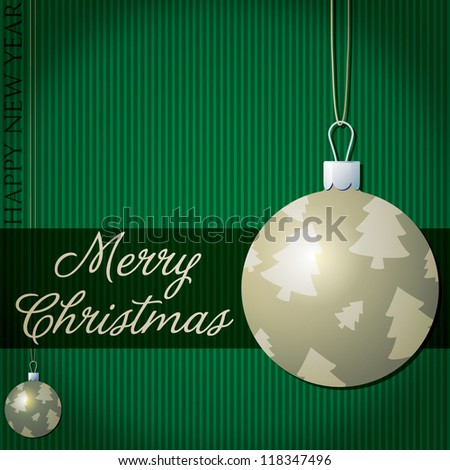 Merry Christmas tree bauble card in vector format. - stock vector