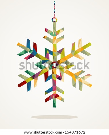 Merry Christmas trendy snowflake made with colorful triangles composition. EPS10 vector file organized in layers for easy editing. - stock vector