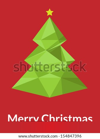 Merry Christmas triangle tree design greeting card - vector illustration