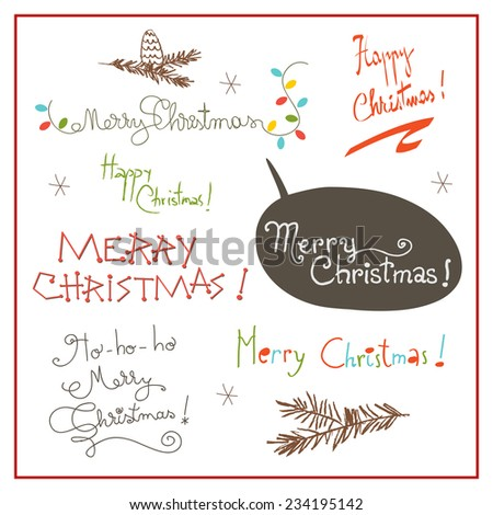 Merry christmas type set, hand drawn decorative lettering, text. Christmas holiday set, collection. - stock vector