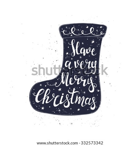 Merry Christmas Typographical Background with Christmas socks. Vector illustration. - stock vector