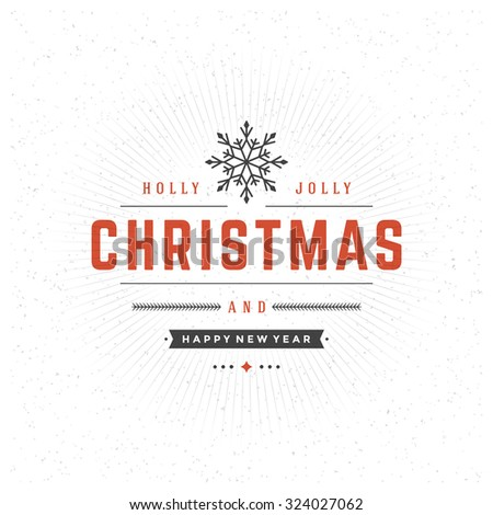Merry Christmas Typography Greeting Card Design and Decorations Vector Background. Snowflake symbol on textured paper. - stock vector