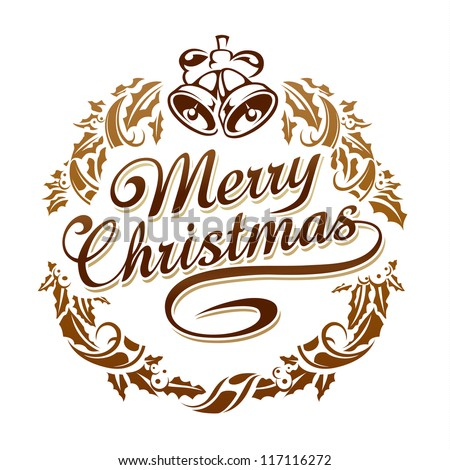 Merry christmas typography with christmas  wreath and bells. - stock vector