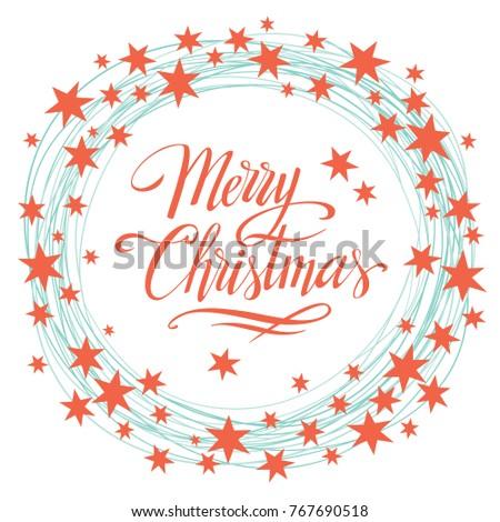 Merry Christmas Vector Background Star Frame Stock Vector 767690518 ...