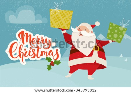 Merry Christmas vector card with funny Christmas character. Vintage Christmas card design with Santa Claus and Merry Christmas lettering - stock vector
