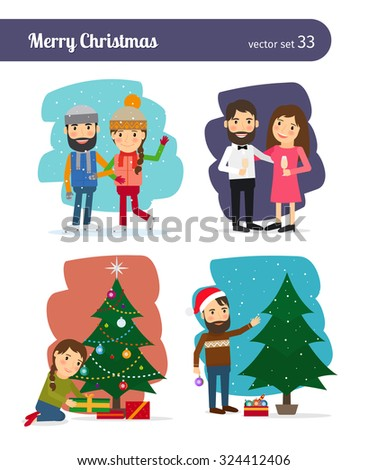 Merry Christmas Vector Characters. Decorating the Christmas tree and preparation of gifts, celebrations and winter holidays - stock vector