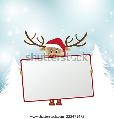 merry christmas vector eps10 design in blue and white / christmas landscape with snowy trees / cute santa reindeer cartoon hold a red frame - stock vector