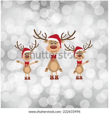 merry christmas vector eps10 design in gray / christmas card / cute cartoon santa reindeer family  - stock vector