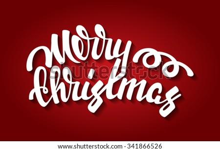 Merry Christmas vector illustration. Modern calligraphy - stock vector