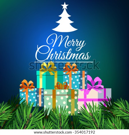 Merry Christmas vector illustration with gift box - stock vector