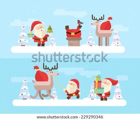 Merry christmas. vector winter background - stock vector