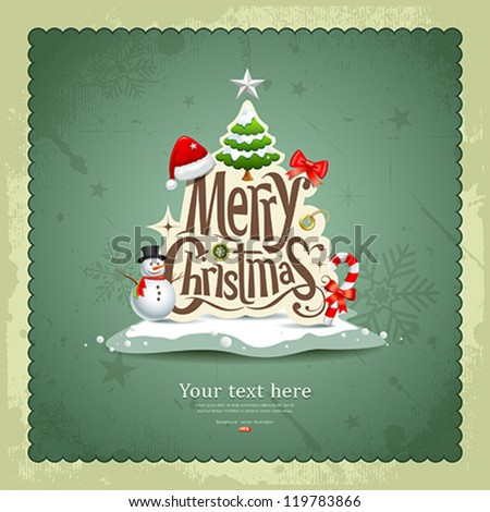 Merry Christmas vintage design greeting card background, vector illustration - stock vector