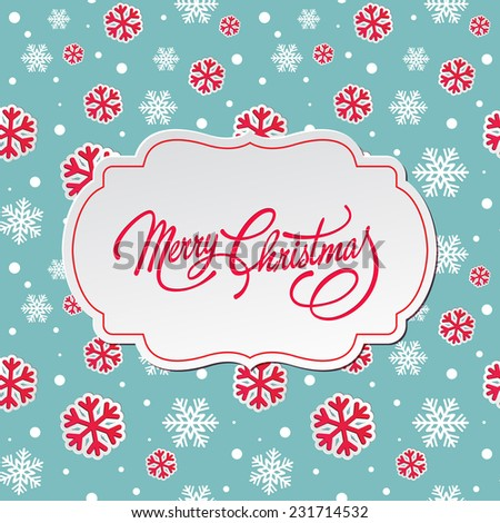 Merry Christmas vintage  greeting card  - stock vector